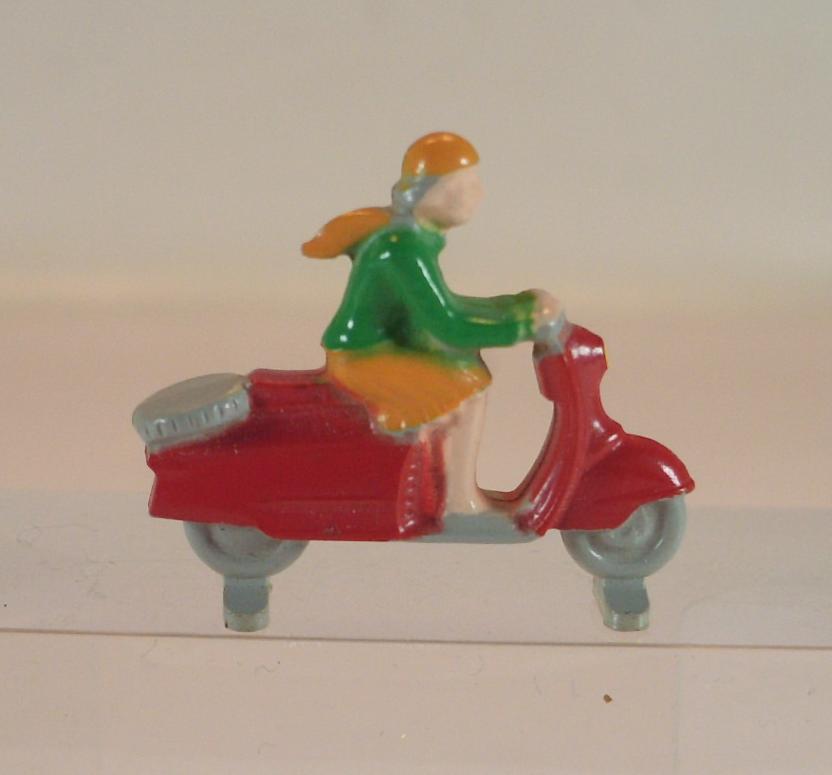 Lego alt 1 87 Motorroller m.Fahrerin neue Form 2.Vers. red   grey 60er Jh.
