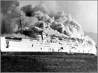 Photo: RMS Queen Elizabeth Burns In Hong Kong Harbor, 1972