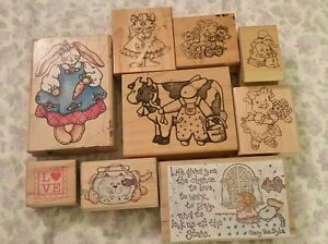 RUBBER-STAMP-COUNTRY-BUNNIES-FOLK-ART-LOT-OF-9-RUBBER-STAMPS-RS1