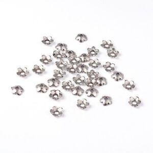 LOT-de-100-PERLES-6-5mm-ARGENTEES-coupelles-caps-INTERCALAIRES-FLEURS-bijoux
