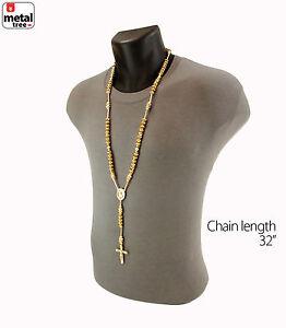 Men-039-s-NEW-Hip-Hop-14k-Gold-Plated-8mm-GOLD-Bead-Pray-Hand-amp-Jesus-Cross-Rosary-G