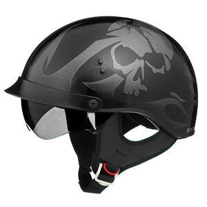 Details About New Gloss Black Skull Motorcycle Shorty Half Helmet Retractable Visor Xsmall