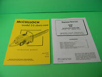 Mcculloch Model 55 Chainsaw Instruction Manual Plus Illustrated Parts List