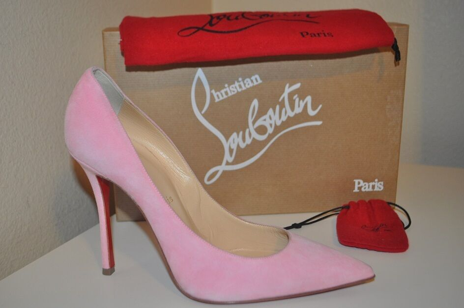 NIB Christian Louboutin DECOLTISH 100mm Pointy Pump shoes Dolly PINK Suede 38.5
