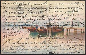 AX3212-Barca-nel-porticciolo-1925-Cartolina-postale-Old-postcard