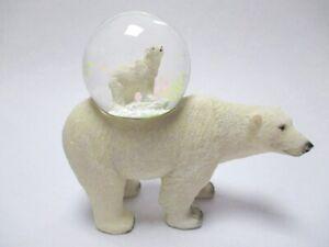 Eisbaer-Schneekugel-Tierfigur-Snowglobe-Glitzerkugel-Neues-Design
