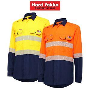 Mens-Hard-Yakka-FR-Taped-NEW-ShieldTec-Lenzing-Hi-Vis-Safety-Work-Shirt-Y04370