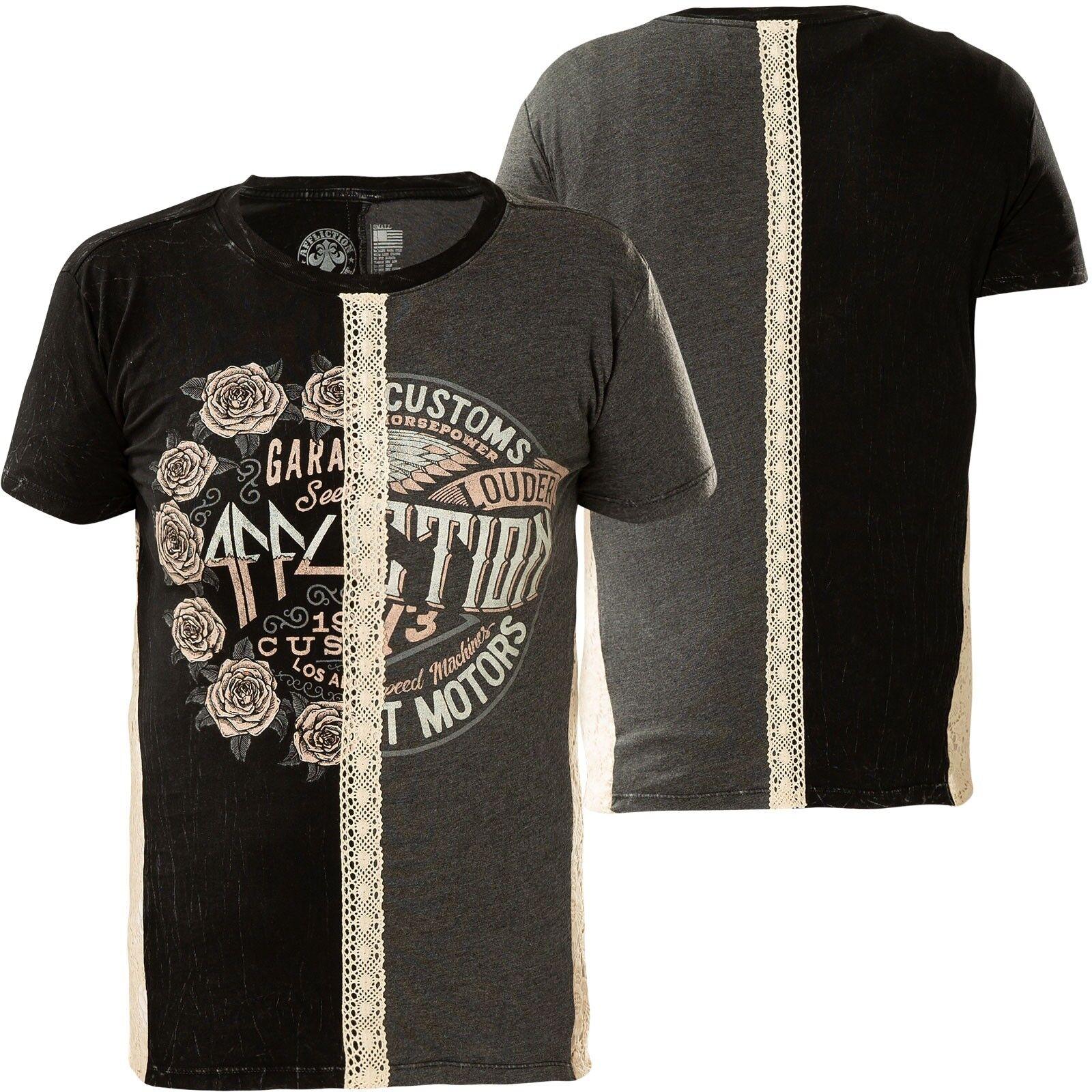 AFFLICTION Damen T-Shirt Heartache Split Schwarz Grau