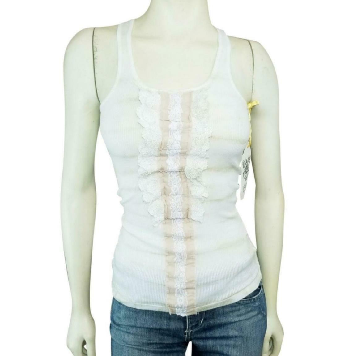 Hale Bob Camisole Tank Top XS Ivory Lace Floral Embroiderot Pearls Ruffles New