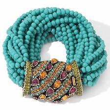 "Heidi Daus A New Twist on a Bracelet Simulated Turquoise Crystal 7-1/2"" Bracelet"