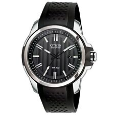 Citizen AR Eco-drive Men's Aw1150-07e Black Dial Poly Band 44mm Watch