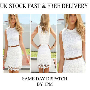 6cba6e8d89f Womes Ladies Floral Overlay White Lace Summer Party Cocktail Evening ...