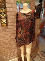 Women's Coldwater Creek Metallic Semi Sheer Burnout Velvet Floral Tunic Topm