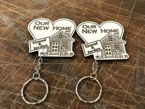 2-X-Personalised-Our-First-Home-Keyring-New-House-Housewarming-Gift-Wooden
