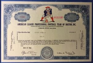 """ORIGINAL 1960's AFL - BOSTON PATRIOTS STOCK CERTIFICATE """"Extremely Rare History"""""""