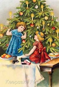 Victorian Christmas Girls Tree Quilt Block Multi Sz 3A