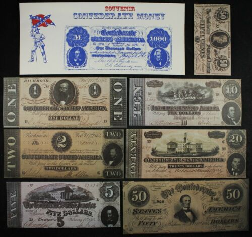 Confederate CSA Reproduction ten piece currency vintage set FREE SHIPPING