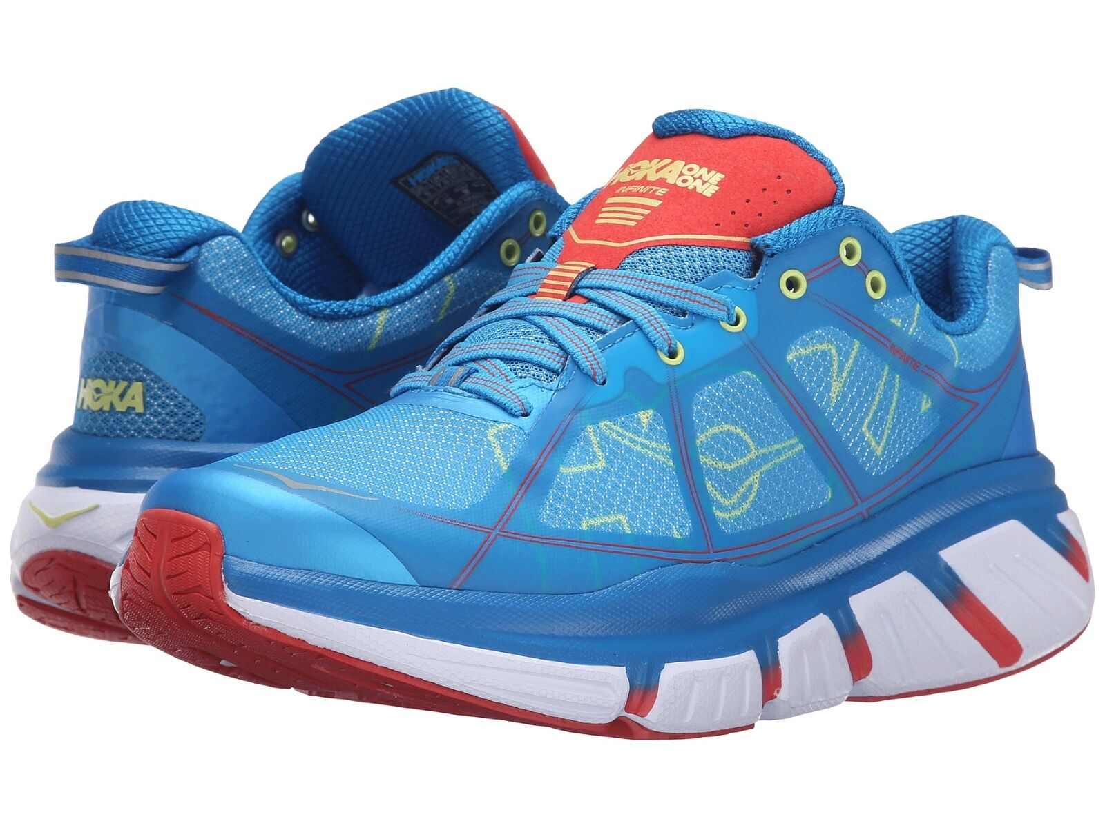 Hoka One One Womens Infinite Sneakers Athletic Shoes Dresden Blue Poppy Red 10.5