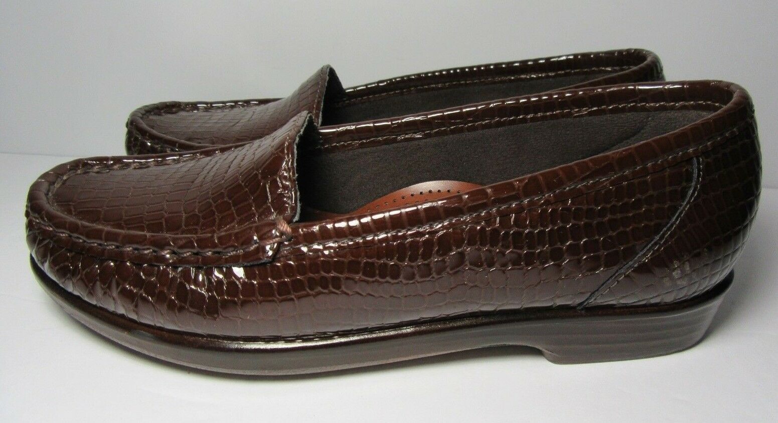 SAS Womens Tripad Comfort shoes Embossed Patent Brown Leather 4.5 M