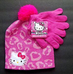 3ff0df155 Details about HELLO KITTY SANRIO Pink Knit Beanie Winter Hat & Gloves Set  w/ Pom-Pom NWT