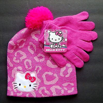 Scarf and Matching Gloves Girls Knit Hello Kitty Winter Hat with Pompom