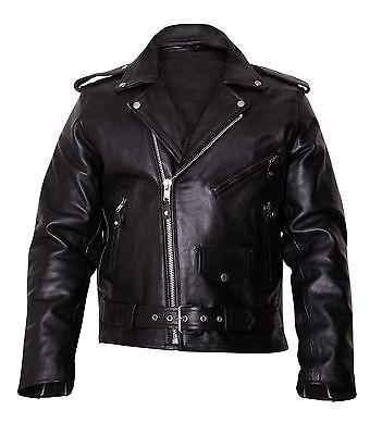 Mens Brando Leather Jacket Motorcycle Biker Scooter Jacket Fashion harley jacket
