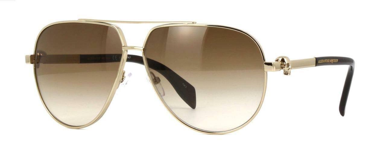 Alexander McQueen AM0018s 002 Gold Skull Aviator Brown Gradient Sunglasses 63mm