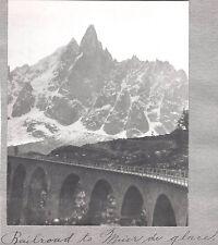 OLD PHOTOGRAPH 1900'S FRANCE MONT BLANC-MER DE GLACE-OLD RAILROAD-GLACIER PHOTO