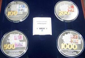 100 / 200 / 500 / 1000 Dm Mark Set - 70 Mm - Medaillen Lot - Silber Auflage - Pp