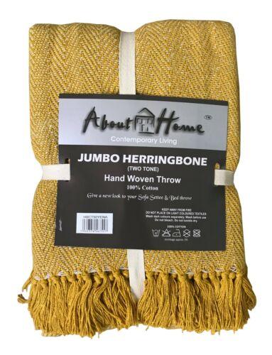 Herringbone Cotton Throw,Sofa Throw,Settee Cover 10 COLOURS 5 SIZES