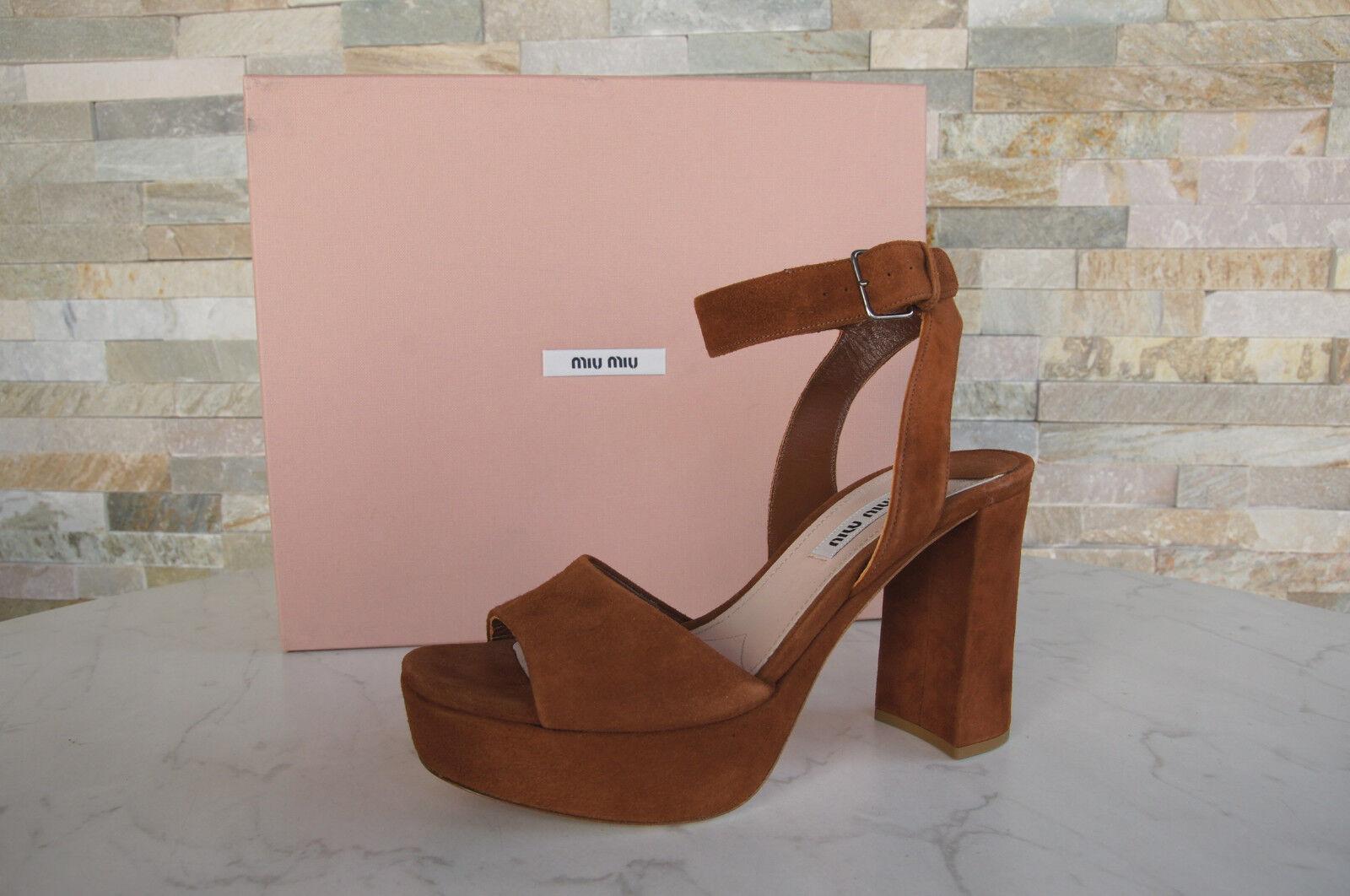 MIU MIU Size 40 Platform Sandals shoes Brown pinkwood NEW formerly