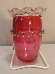 Victorian-Cranberry-Art-Glass-Epergne-BASKET-Pulled-Rigaree-Horn-Lily-5-034-Tall