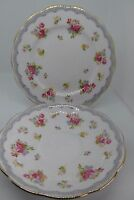 Queen Anne Side Plate & Saucer Pink Roses Fine Bone China 2nd Quality