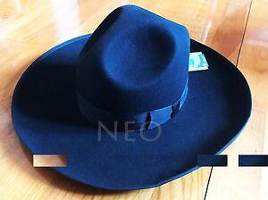 Israel Jewish Hat Wool Hasidic  Rabbi Wide Brim Fedora Cap Black