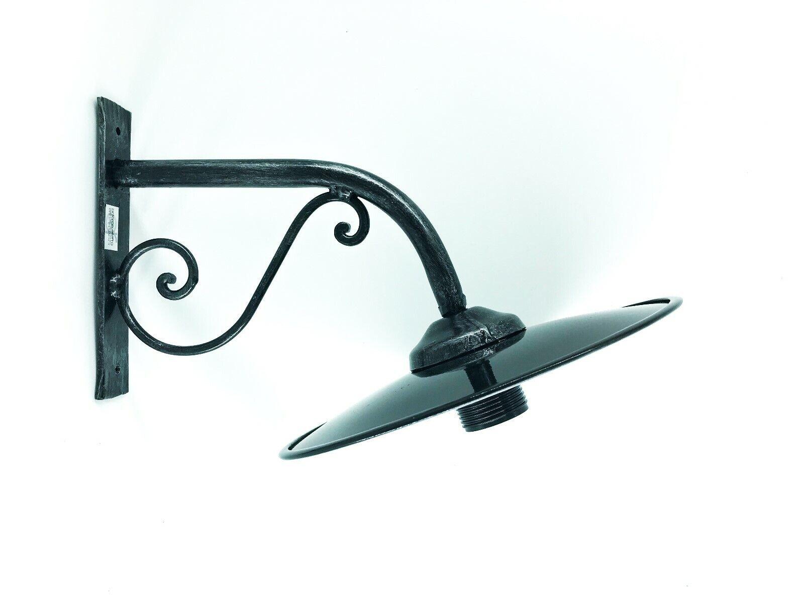Lámpara de Parojo Exterior Hierro Forjado con Plato blancoo y Negro Esmaltado