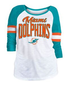 White-New Miami Dolphins Men/'s T-Shirt New Era NFL Dual Logo Football T-Shirt