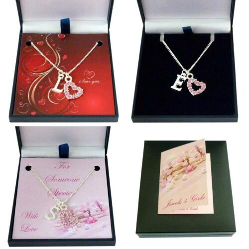 Necklace with Letter Pendant and Beautiful Heart Optional Gift Box with Card
