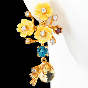 7MM-CITRINE-LONDON-BLUE-TOPAZ-RHODOLITE-GARNET-MOP-YELLOWGOLD-SILVER-925-EARRING