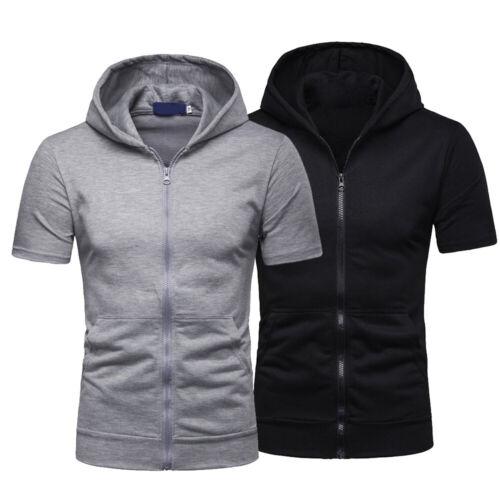 Mens Zip Up Hoodie Blouse Short Sleeve Hooded Zipper Sweatshirt Jacket Coat Tops