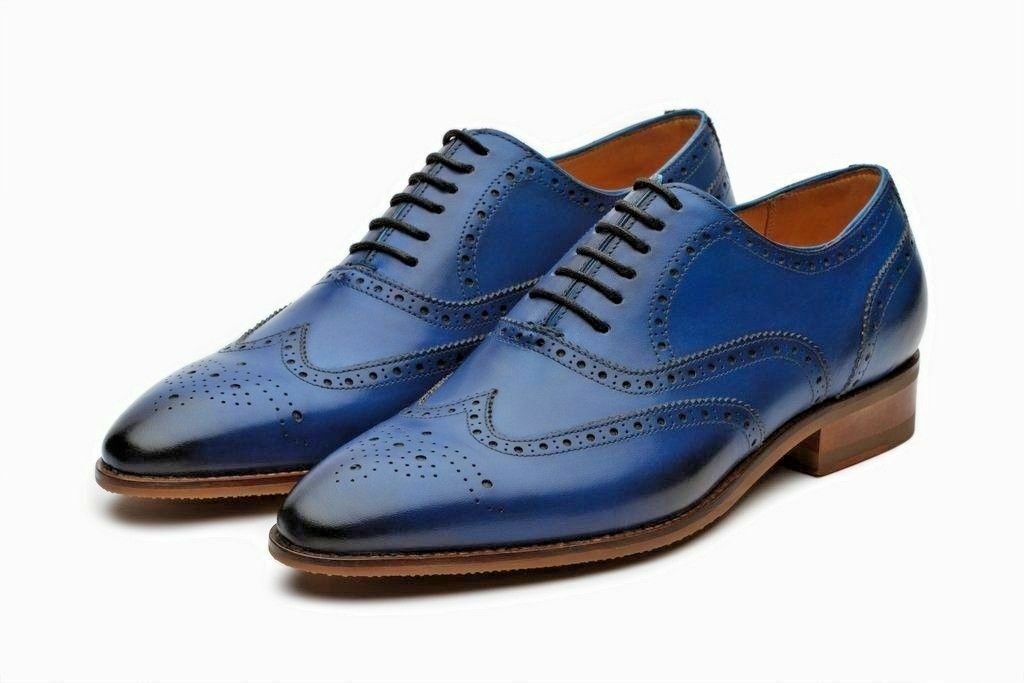 Mens Handmade shoes bluee Oxford Brogue Classic Wingtip Official Formal Wear Boot