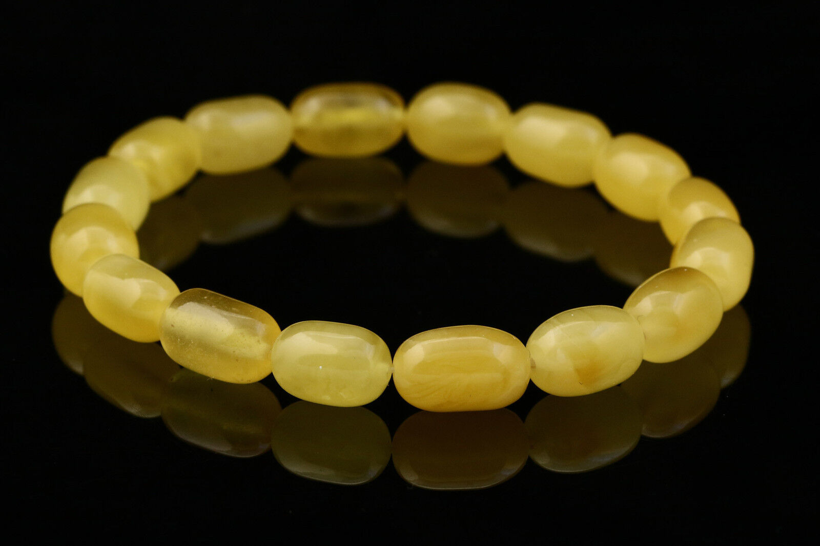 Butter Olive Barrel Beads Genuine Baltic Amber Stretch Bracelet 5.5g b141124-6
