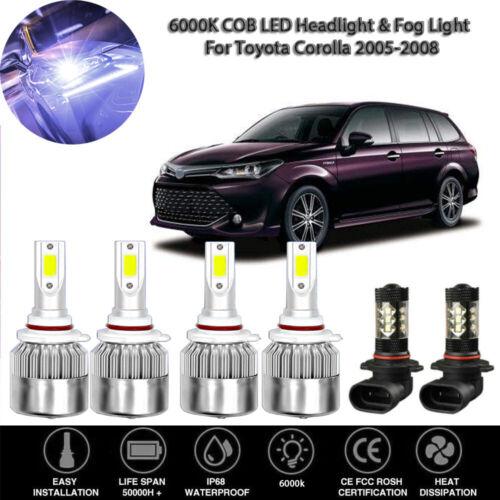 6X 6000K COB LED Headlight/&Fog Light Combination Kit For Toyota Corolla 05-2008