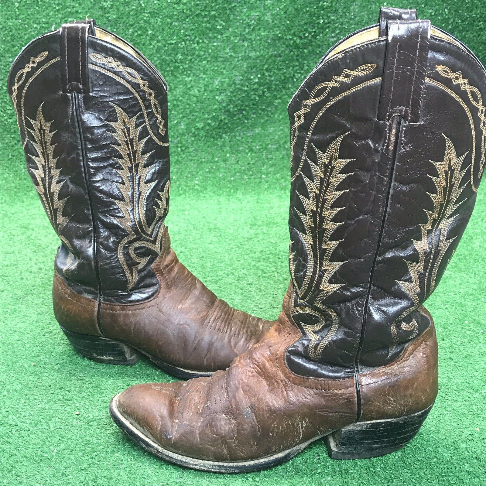 TONY LAMA Aztec Bull Shoulder 6532 Western Cowboy Boots Vintage Mens Size 7