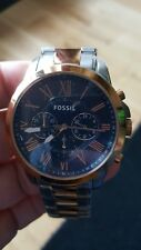 mens fossil stainless steal and rose gold watch