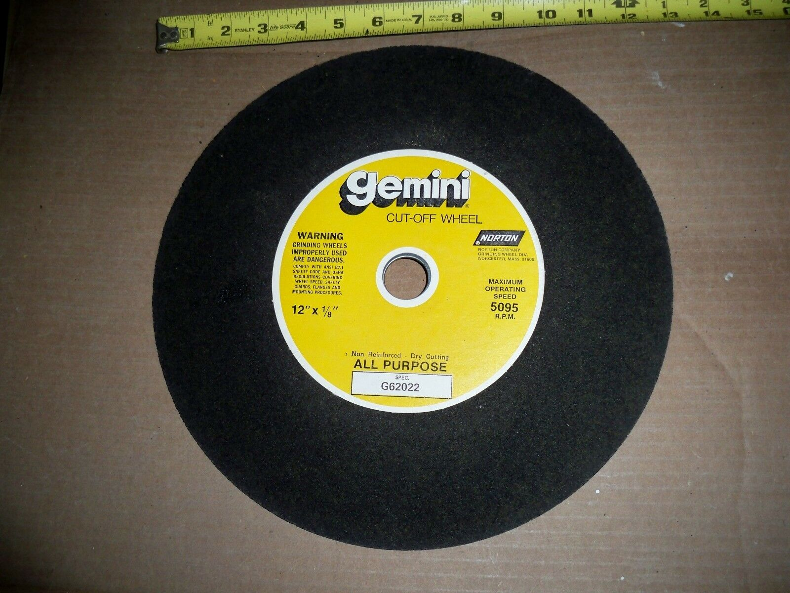 7pc-12 X1 8 X1 NORTON NON REINFORCED  CUT-OFF WHEEL BLADE ABRASIVE CUTOFF
