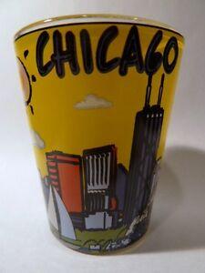 CHICAGO-ILLINOIS-SKYLINE-YELLOW-SHOT-GLASS-SHOTGLASS