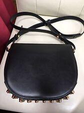 ALEXANDER WANG Lia sling messenger crossbody bag Black Leather Gold Flap New