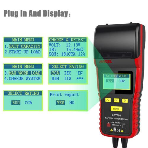 12V 24V Auto Battery Load Tester Universal Digital Analyzer With Printer BST500