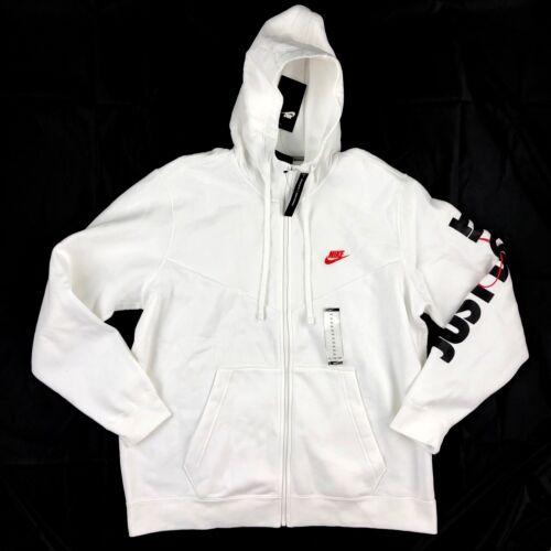 Nike Just Do It Full Zip Hoodie Jacket White Red Black 931900-100 Men/'s XL