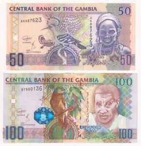 GAMBIA-50-and-100-Dalasis-Banknotes-2018-P-28d-and-29bc-UNC